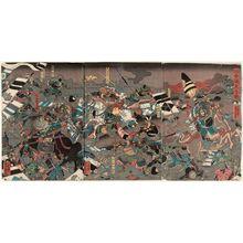 Utagawa Yoshikazu: The Great Battle at Kawanakajima (Kawanakajima ôgassen) - Museum of Fine Arts