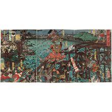 歌川芳員: The Battle of the Uji River in Settsu Province (Sesshû Ujikawa kassen) - ボストン美術館