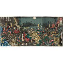 歌川芳員: Lord Masakiyo's Tiger Hunt (Masakiyo kô toragari no zu) - ボストン美術館