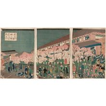 Utagawa Yoshikazu: Holiday of Cherry Blossoms at Naka-no-chô in the New Yoshiwara (Shin Yoshiwara Naka-no-chô sakura no monpi) - Museum of Fine Arts