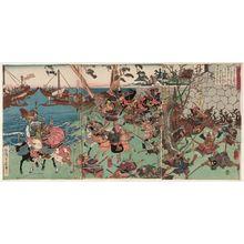 Utagawa Yoshitora: The Great Battle at Ichinotani in Settsu Province (Sesshû Ichinotani ôgassen no zu) - Museum of Fine Arts