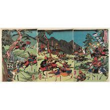 歌川芳虎: The Great Battle of the Oda and the Imagawa at Azukizaka (Oda Imagawa Azukizaka ôgassen no zu) - ボストン美術館
