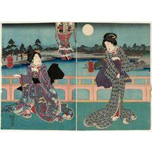 Utagawa Yoshitora: Women on a Balcony at NIght - Museum of Fine Arts