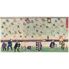 歌川芳虎: Children at Play: Kite-flying Contest (Kodomo asobi tako-age kurabe) - ボストン美術館
