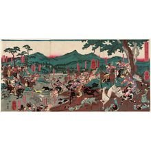 Utagawa Yoshitora: At the Hunt in the Foothills of Mount Fuji, the Soga Brothers... Their Enemy Kudô (Fuji susono makigari ni oite Soga kyôdai teki Kudô o nerou zu) - Museum of Fine Arts