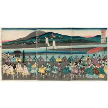 Utagawa Yoshitora: The Procession of Lord Ashikaga Yoshimasa on an Excursion to Higashiyama (Ashikaga Yoshimasa kô Higashiyama yûran on-gyôretsu no zu) - Museum of Fine Arts