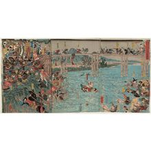 Utagawa Yoshitora: The Great Battle of the Uji River, on the 16th Day of the Third Month, 1184 (Juei sannen jûrokunichi Ujikawa ôgassen zu) - Museum of Fine Arts