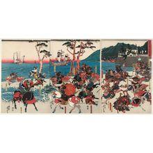 Utagawa Yoshitora: The Battle of Ichinotani in 1184 (Juei sannen Ichinotani kassen no zu) - Museum of Fine Arts