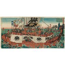 Utagawa Yoshitora: Minamoto Yoshitsune Crosses the Sea to Ezo (Minamoto Yoshitsune Ezo tokai no zu) - Museum of Fine Arts