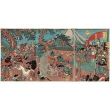 歌川芳虎: Lord Yoritomo's Hunt on Fuji Plain in the Fifth Month of 1193 (Kenkyû yonen gogatsu Daishô Yoritomo kô Fujino makigari no zu) - ボストン美術館