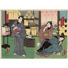 Utagawa Kunisada: Actors Iwai Kumesaburô III as Wife (Nyôbô) Ochiyo, Nakamura Enjaku as Apprentice (Detchi) Santa (R), and Nakamura Fukusuke I as Yaoya Hanbei (L) - Museum of Fine Arts