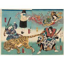 Utagawa Kunisada: Actors Onoe Waichi II as Watônai/ Ten'nin (R) and Onoe Waichi II as Ippon ashi/ Karyûdo (L) - Museum of Fine Arts