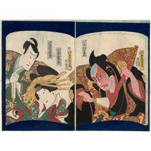 Utagawa Kunisada: Actors Nakamura Shikan IV as Iwanaga (R) and Onoe Eizaburô 4.5 as Akoya, Ichikawa Ichizô III as Shigetada (L) - Museum of Fine Arts