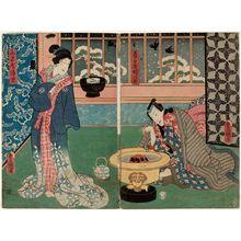 Utagawa Kunisada: Actors Nakamura Fukusuke I as Kasugaya Tokijirô (R) and Iwai Kumesaburô III as Yamanaya Urazato (L) - Museum of Fine Arts