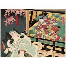 Utagawa Kunisada: Actors Onoe Kikugorô IV as Shizuka Gozen (R) and Nakamura Fukusuke I as the Fox Minamoto Yoshitsune (Genkurô-gitsune) (L) - Museum of Fine Arts