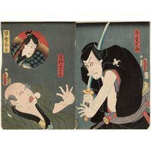 Utagawa Kunisada: Actors Kawarazaki Gonjûrô I as Ono Sadakurô (R), Ichikawa Kodanji IV as Farmer (Hyakushô) Yoichibei (L), and Kawarazaki Gonjûrô I as Hayano Kanpei (in inset) - Museum of Fine Arts