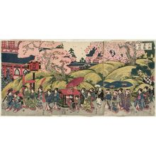 Utagawa Kuniyasu: Cherry Blossoms in Full Bloom at Tôeizan Temple in Ueno (Ueno Tôeizan hanazakari zu) - Museum of Fine Arts