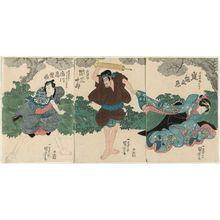 Utagawa Kuniyoshi: Actors Arashi Kamenojô (R), Seki Sanjûrô as Hôkaibô (C), Ichikawa Komazô (L) - Museum of Fine Arts