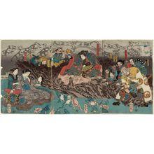 Utagawa Kuniyoshi: Shôguntarô Taira Yoshikado with Iga Jutarô and Takiyasha-hime - Museum of Fine Arts