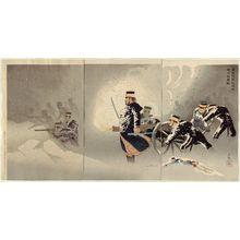 小林清親: Braving the Snow, Our Troops Capture the Stronghold at Weihaiwei (Yuki o okashite, waga gun Ikaiei no kenrui o nuku zu) - ボストン美術館