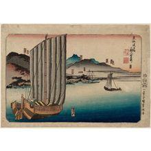 Utagawa Kuniyoshi: Six Stations: Maisaka, Arai, Shirasuka, Futakawa, Yoshida, and Goyu, from the series Famous Views of the Fifty-three Stations of the Tôkaidô Road (Tôkaidô gojûsan eki rokushuku meisho) - Museum of Fine Arts