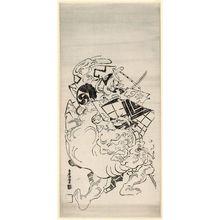 Torii Kiyomasu I: The Elephant-tugging scene (Zoobiki) - Museum of Fine Arts