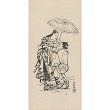 鳥居清倍: Courtesan and attendant walking in snow - ボストン美術館