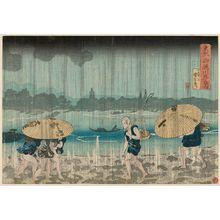 歌川国芳: View of Onmaya Embankment in the Eastern Capital (Tôto Onmaya-gashi no zu), from a series View of...in the Eastern Capital (Tôto...no zu) - ボストン美術館