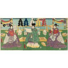 Utagawa Kunisada: The ... Ceremony: Actors Kawarazaki Gonjûrô I (R), Nakamura Shikan IV (C), and Sawamura Tanosuke III (L) - Museum of Fine Arts
