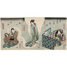 Utagawa Kunisada: Actors Fujikawa Hanatomo III as Kashiwagi (R), Onoe Kikugorô III as Usugumo (C), and Ichimura Uzaemon XII as Inabanosuke (L), in The Fifty-three Stations: Haunting at Okazaki Station (Gojûsan tsugi no uchi Okazaki shuku no yôkai) - Museum of Fine Arts
