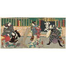 Utagawa Kunisada: Imitating Puppets (Ningyô no manei): Actors Kawarazaki Gonjûrô I as Ebizako no Jû (R), Onoe Kikugorô IV as Ômiya Kakae Kofuji (C), Seki Sanjûrô III as Iyami Kinchô and Bandô Hikosaburô V as Iyami Kintarô (L) - Museum of Fine Arts