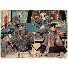 Utagawa Kunisada: Actors Arashi Rikan III as Abe no Sadatô and Ichikawa Danjûrô VIII as Hachimantarô (R); Ichikawa Ebizô V as Abe no Munetô and Arashi Rikan III as Sadatô's Wife (Tsuma) Sodehagi (L) - Museum of Fine Arts