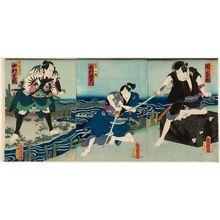 Toyohara Kunichika: Actors Seki Sanjûrô as Akabori Mizuemon (R), Ichimura Uzaemon (C), and Nakamura Shikan (L) - Museum of Fine Arts