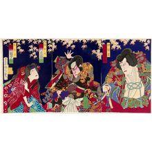 Toyohara Kunichika: Actors Ichikawa Danjûrô (in two roles) and Ichikawa Sadanji - Museum of Fine Arts