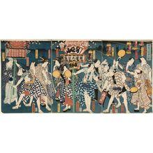 Toyohara Kunichika: Minobusan asamairi no zu: Actors - Museum of Fine Arts