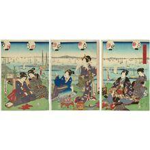 歌川国貞: Scenery of Namiyoke in Tsukiji (Tsukiji Namiyoke shôkei), from the series Famous Places in Edo (Edo meisho) - ボストン美術館