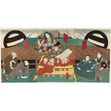 Utagawa Kunisada: Actors Nakamura Shibajaku I as Nagatsu Sôjûrô and Ichikawa Kodanji IV as Marinoya Shirô; Morita Kanya XI as Ômori Hikoshichi and Sawamura Tosshô II as Ashikaga Yoshimitsu kô; Bandô Takesaburô I as Matsudaiya Kogorô and Ichikawa Kodanji IV as Isshin Tarô - Museum of Fine Arts