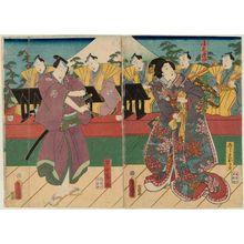 Utagawa Kunisada: Actors Onoe Kikugorô IV as Koshimoto Okaru (R) and Nakamura Fukusuke I as Hayano Kanpei (L), with musicians of the Kiyomoto Group - Museum of Fine Arts