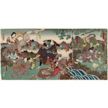 Utagawa Kunisada: Actors Morita Kanya XI as Arara Sennin and Iwai Kumesaburô I; Nakamura Tomijûrô II as Yasutara Hime, Ichimura Uzaemon XIII as Rakora Taishi, Arashi Kichisaburô III as Shanoku Shajin; Onoe Kikujirô II as Ruri Senjo and Mimasu Gennosuke II as Shindôji - Museum of Fine Arts