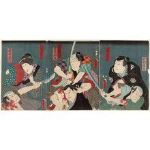 Utagawa Kunisada: Actors Matsumoto Kunigorô I as Iwahashi Gunzô, Arashi Rikan III as Masaki Shôzaburô (R); Kataoka Gadô II as Hanaya Tokubei, Ôtani Tokuji II as Mokari Chikuan (C); Nakamura Daikichi III as Hanaya's Wife Ofusa, Ôtani Tomoemon IV as Wakamono Goroku (L) - Museum of Fine Arts