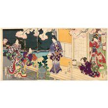 Toyohara Kunichika: Enjoying Flowers (Hana asobi), from the series Moon, Snow, and Flowers (Getsusekka no uchi) - Museum of Fine Arts