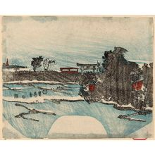 Utagawa Sadahide: Landscape with shrine - Museum of Fine Arts
