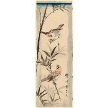 Utagawa Yoshikazu: Sparrows and Bamboo - Museum of Fine Arts