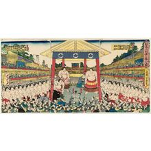 落合芳幾: Procession of Sumô Wrestlers for a Fund-raising Tournament (Kanjin ôzumô dohyô iri no zu) - ボストン美術館