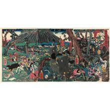 Utagawa Yoshikazu: Lord Yoritomo's Hunt at Mount Fuji (Yoritomo kô Fuji no mikari no zu) - Museum of Fine Arts