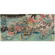 歌川芳艶: Yoshitsune Crossing the Sea at Daimotsu Bay (Daimotsu no ura Yoshitsune tokai no zu) - ボストン美術館