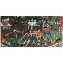 Utagawa Yoshikazu: On the 28th Day of the Fifth Month of 1193, in the Foothills of Mount Fuji, the Soga Brothers Carry Out a Night Attack and Achieve Their Desire (Kenkyû yonen gogatsu nijûhachinichi Fuji no susono Soga kyôdai youchi honmô no zu) - Museum of Fine Arts