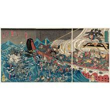 Utagawa Yoshitora: In 1188, Minamoto Yoshitsune Encounters a Typhoon in Daimotsu Bay in Settsu Province (Bunji yonen Minamoto Yoshitsune Sesshû Daimotsu no ura nanpû no zu) - Museum of Fine Arts