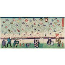 歌川芳虎: Children at Play: A Kite-flying Contest (Kodomo asobi tako agekurabe) - ボストン美術館