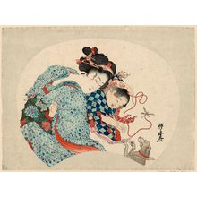 Kawanabe Kyosai: Mother and Child Playing with Dog - Museum of Fine Arts
